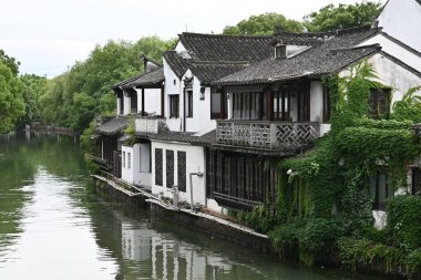 Sunny day along the canals in the Ancient Water Town Jinze near Shanghai