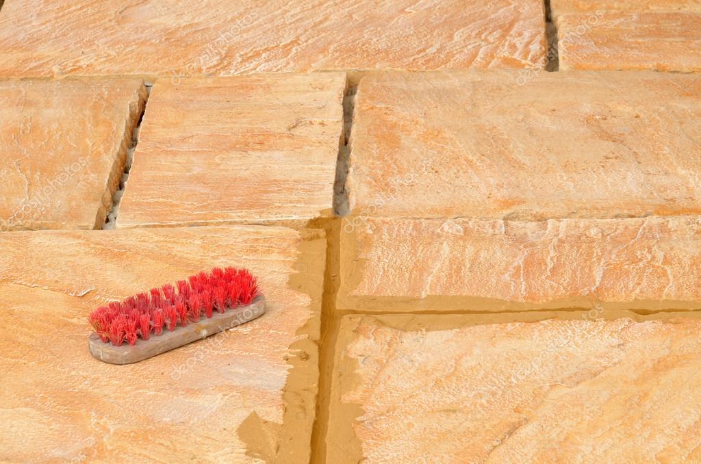 Beton Im Freien Verlegung Fliesen Sandstein Farbige Auf Terrasse Und