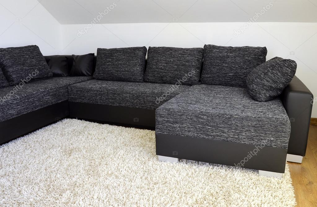 Modern Black And White Cloth Sofa With Black Leather And