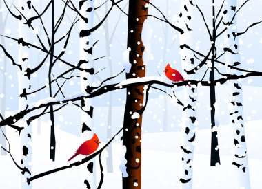 Winter Forest & Winter Landscape-Vector