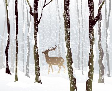 Winter Forest & Rain Deer-Vector