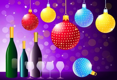 Christmas Party with Wine Bottle & Glasses-vector