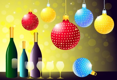 Christmas Party with Wine Bottle & Glasses