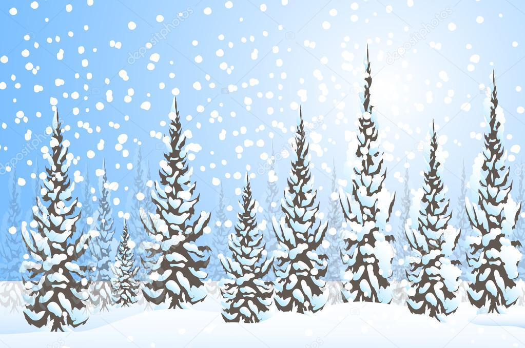Winter landscape -Vector