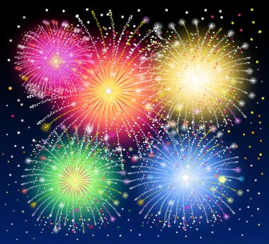 Beauty of Fireworks-Vector