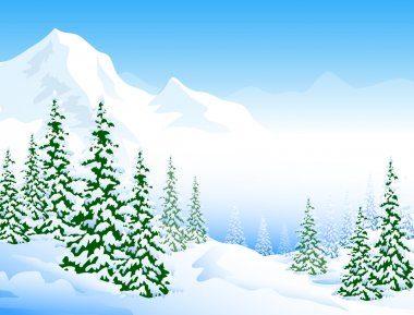 Snow Peaks & Winter Landscape-Vector