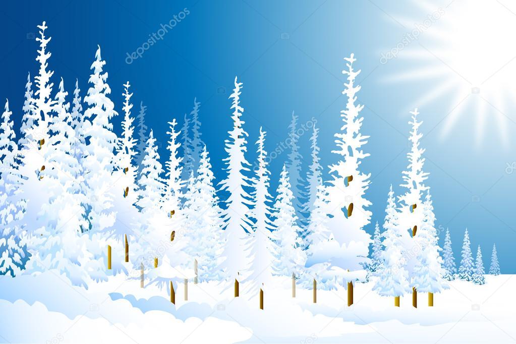 Winter Landscape-Vector