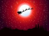 Fotografie Christmas Santa Claus flying in Christmas Night-Vector