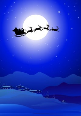 Christmas Santa Claus flying sleigh In Christmas Night