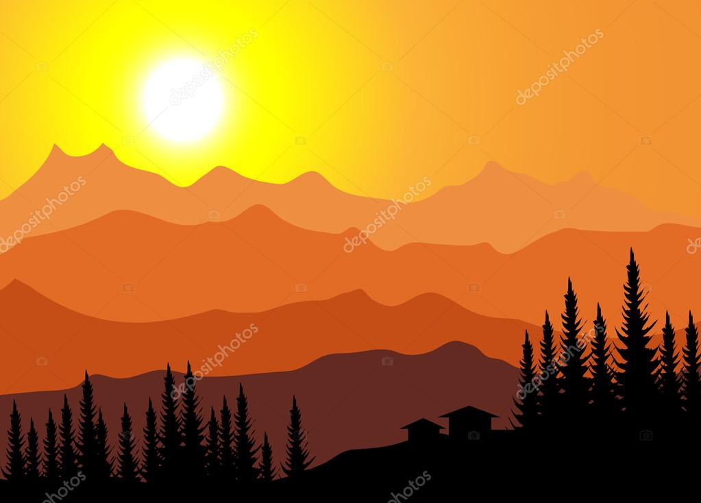 Mountain Sunset-Vector