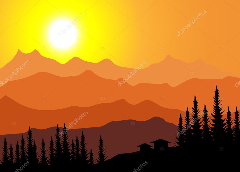Mountain Sunset-Vector