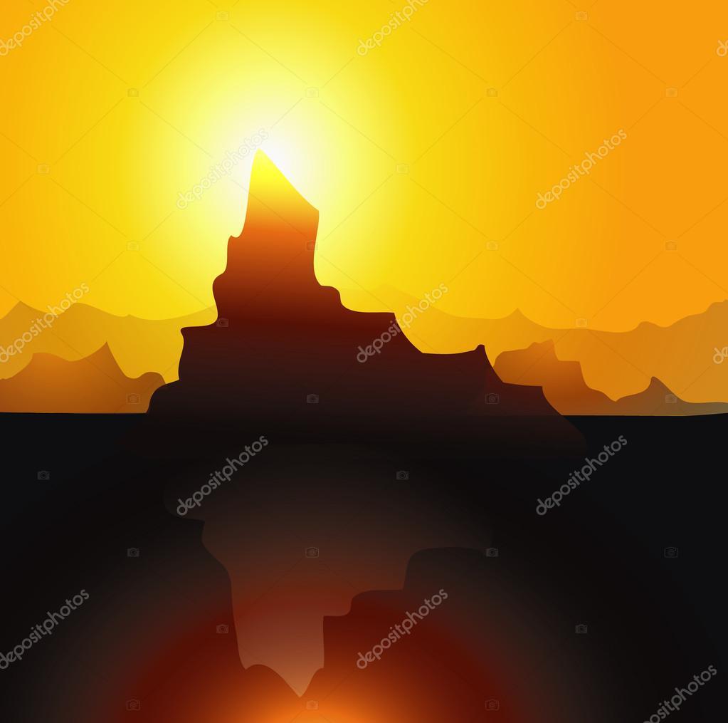 Iceberg & Sunset-vector