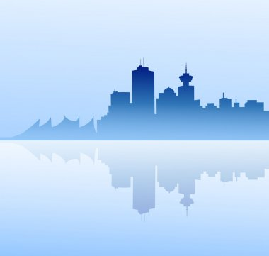 Vancouver  skyline at morning-Vector