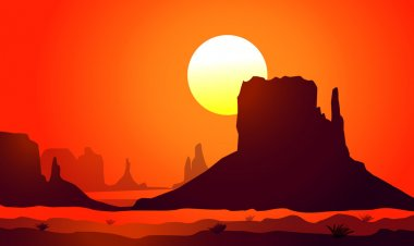 Sunset on Monument Valley (Arizona)-Vector