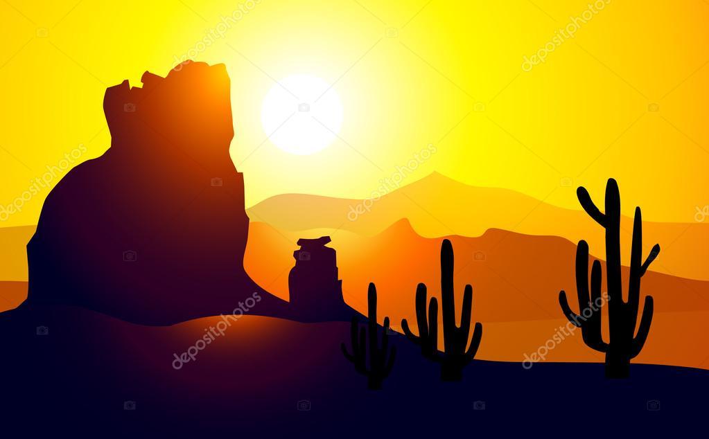 Sunset On Monument Valley Arizona Vector Stock Vector C Samillustration 54594535
