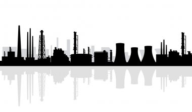 Oil and Gas Refinery Silhouette -Vector