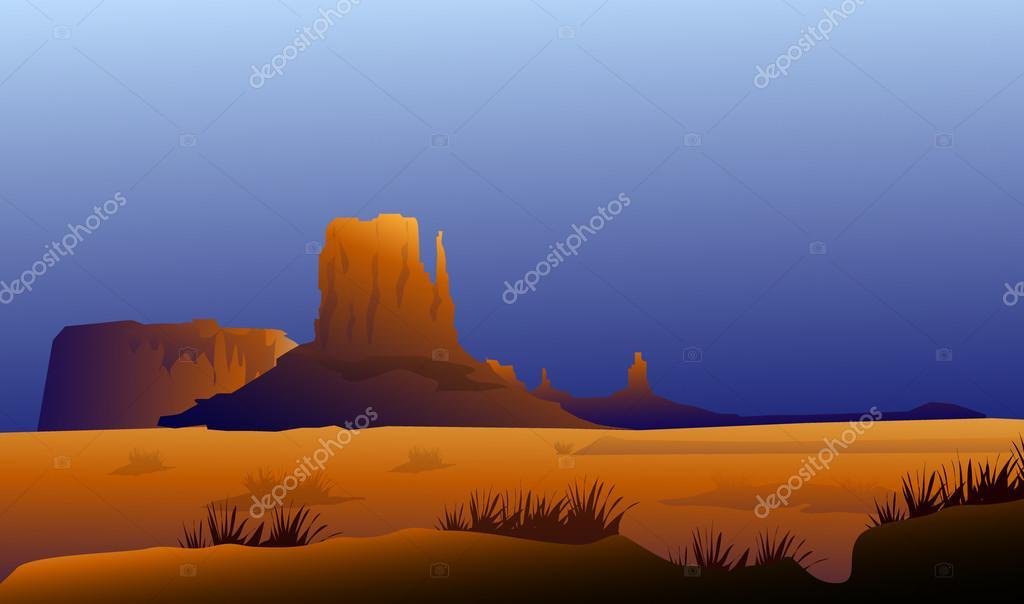 Monument Valley at Rainy Season - Vector