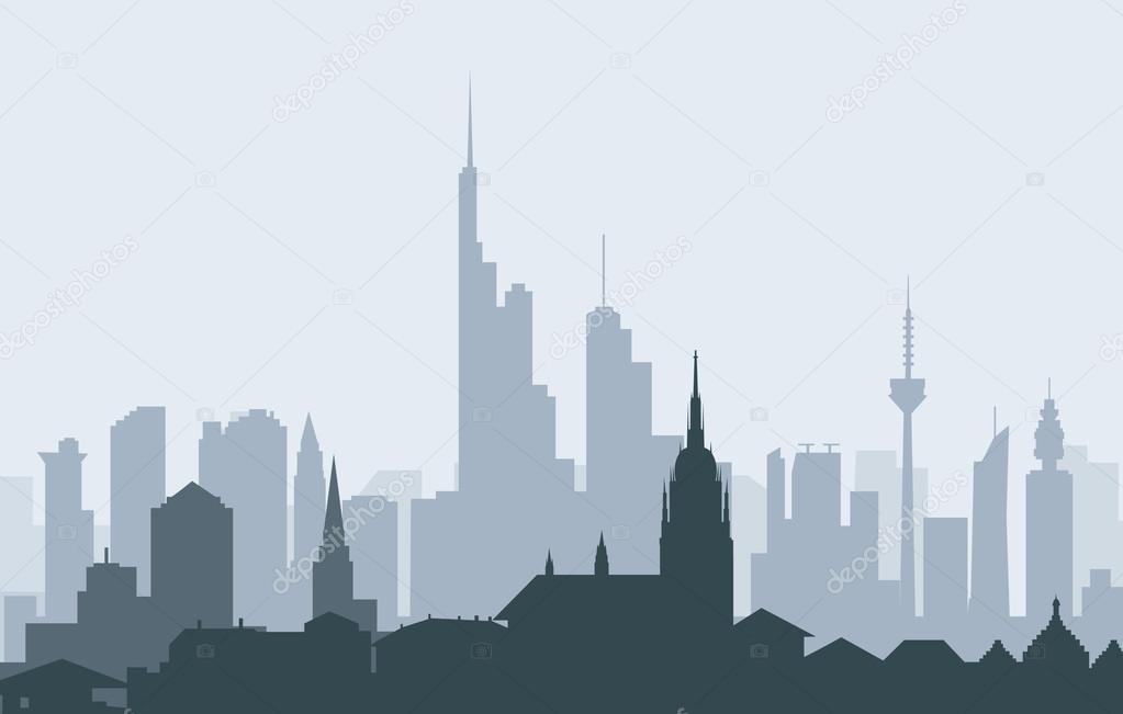Morgen Frankfurt morgen frankfurt skyline vektor stockvektor samillustration