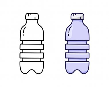 Doodle icon of PET or plastic bottle with cap. Linear and color version. Hand drawn simple illustration. Contour isolated vector pictogram on white background icon