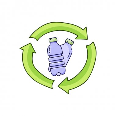 Plastic bottles in recycle sign. Color doodle icon. Hand drawn simple illustration of garbage recycling, bio degradable packaging. Color isolated vector pictogram on white background icon