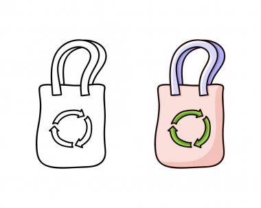 Recycle bag doodle icon. Linear and color version. Hand drawn simple illustration. Contour isolated vector pictogram on white background icon