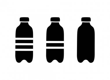 PET bottle silhouette icons set. Hand drawn simple illustration of plastic container for water, liquid, oil. Black isolated vector pictogram on white background icon