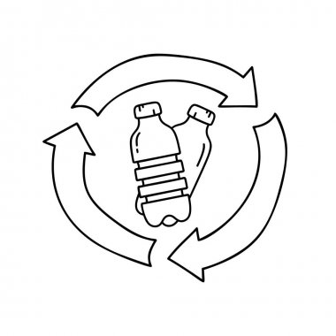 Plastic bottles in recycle sign. Black doodle icon. Hand drawn simple illustration of garbage recycling, bio degradable packaging. Contour isolated vector pictogram on white background icon