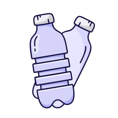 Doodle icon of two blue PET bottles. Hand drawn simple illustration of cartoon plastic container for water, liquid, oil. Color isolated vector pictogram on white background icon