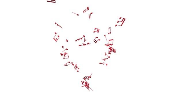 Note di musica rosso facendo un grande cuore