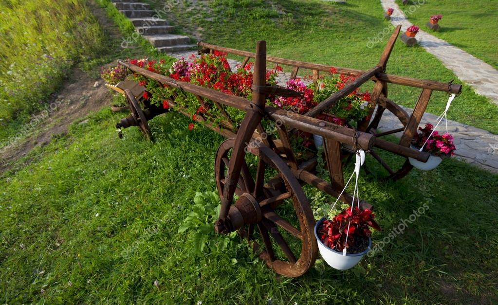 Cart of flower pots with red flowers