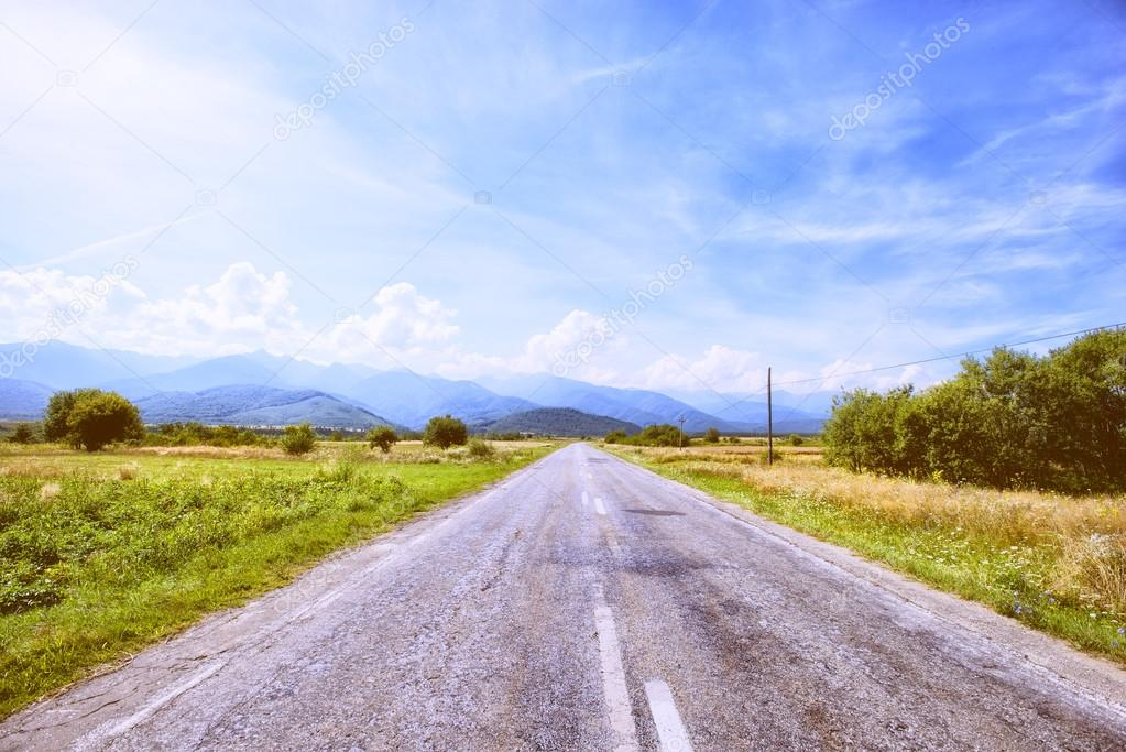 Empty road in Romania mountains