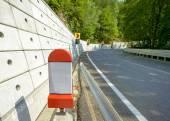 Kilometer stone post on the roadside in Romania
