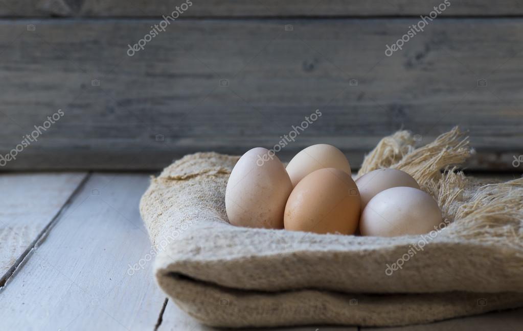 Bio eggs on wood table