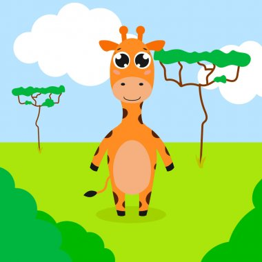 Happy giraffe. Vector cartoon illustration. Isolated. Cute character in the flat style. icon
