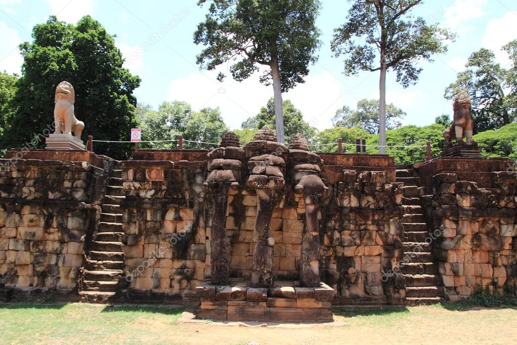 Terrace of the elephants in Angkor Thom, Siem Reap, Cambodia