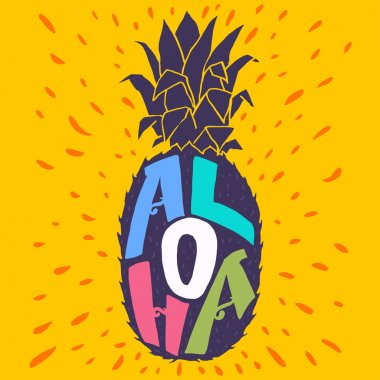 'Aloha' lettering in pineapple silhouette.