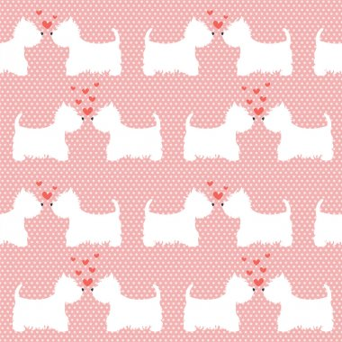 Pattern with cartoon dogs.