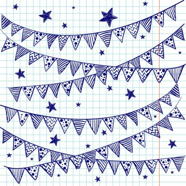 Bunting flags on a squared notebook paper.