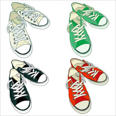 Set of four pairs of sneakers