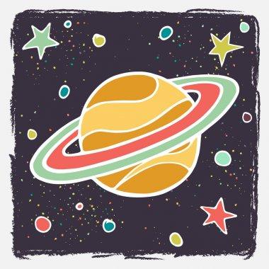 Cartoon Saturn planet and stars