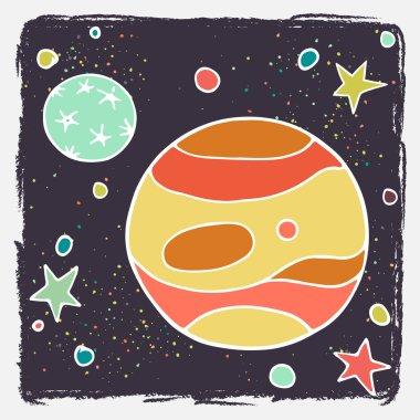 Cartoon planet Jupiter, Callisto and stars.