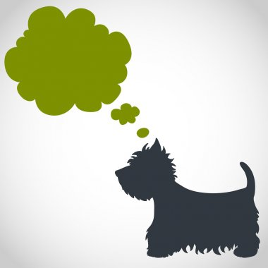 Dog silhouette and speech bubble