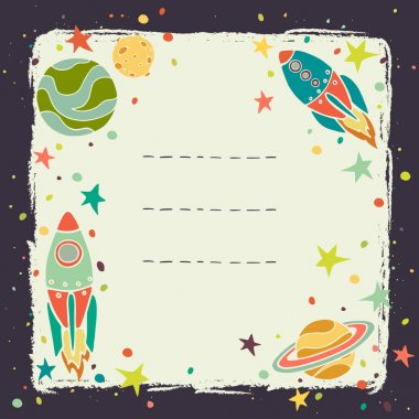 Card with cartoon space elements