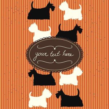 Orange card with cartoon dogs
