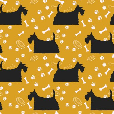 Orange pattern with dogs silhouettes