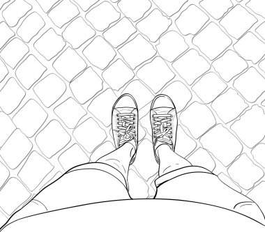 Woman legs in sneakers, standing on the block pavement. Vector illustration. stock vector