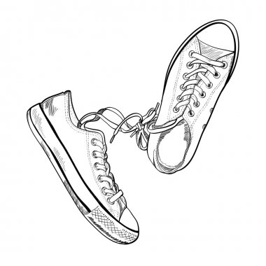 Sneakers in sketch style