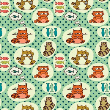 Pattern with cute colorful cartoon cats