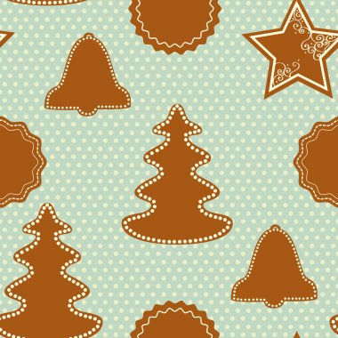 Christmas pattern with gingerbread cookies