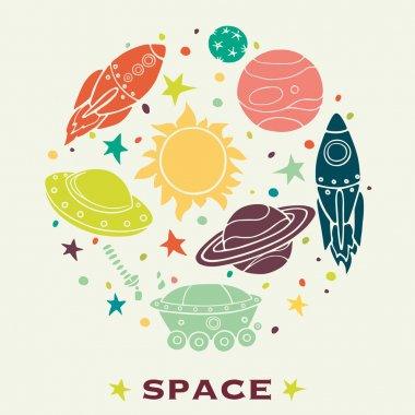 Cartoon space elements in circle